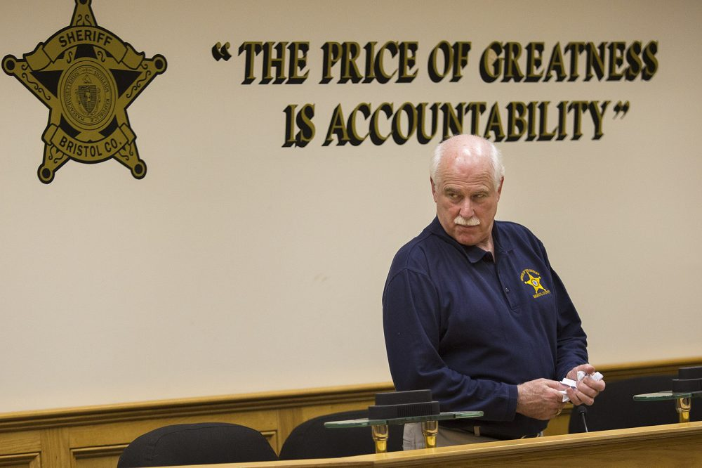 Bristol County Sheriff Thomas Hodgson during a training class conducted at Bristol County Jail and House of Correction in North Dartmouth in December 2017. (Jesse Costa/WBUR)