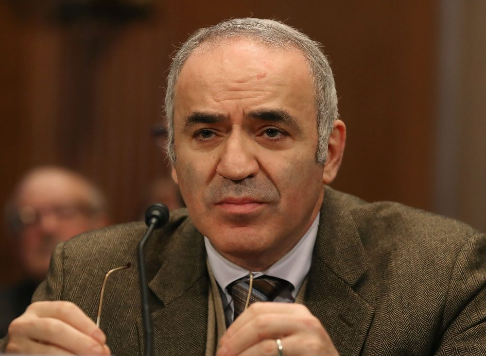 Gary Kasparov, chairman of the Human Rights Foundation, participates in a Commission on Security and Cooperation in Europe hearing, focusing on the five-year anniversary of the Magnitsky Act, on Capitol Hill, Dec 14, 2017. (Mark Wilson/Getty Images)