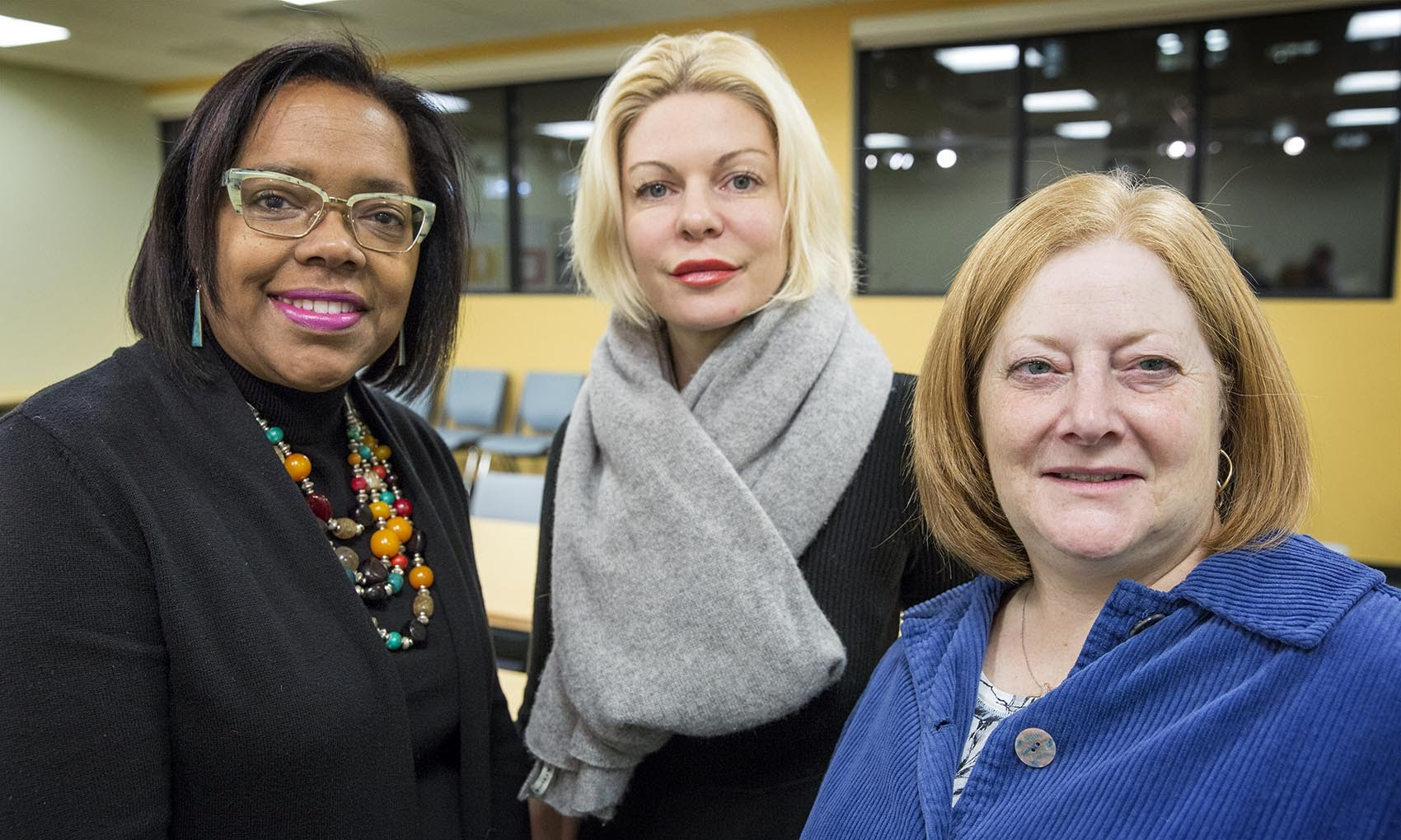 From left: Donna Latson Gittens, CEO of MORE Advertising; Nicole Sahin, CEO of Globalization Partners; and Joanne Kamens, executive director at AddGene, meet for a conversation at WBUR. (Robin Lubbock/WBUR)