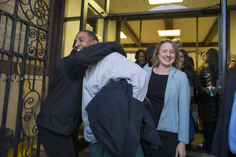 Jones walks out of the Brockton Superior Courthouse Thursday with his attorney, Lisa Kavanaugh. (Jesse Costa/WBUR)
