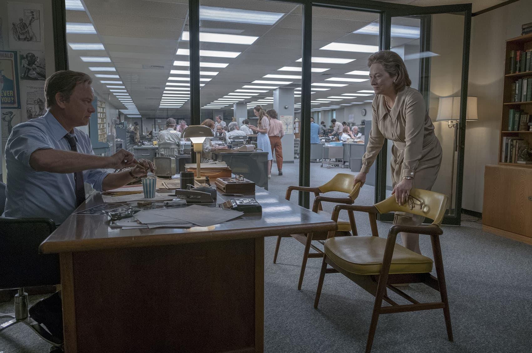 """Tom Hanks, as Ben Bradlee, and Meryl Streep, as Kay Graham, star in """"The Post."""" (Courtesy Niko Tavernise)"""