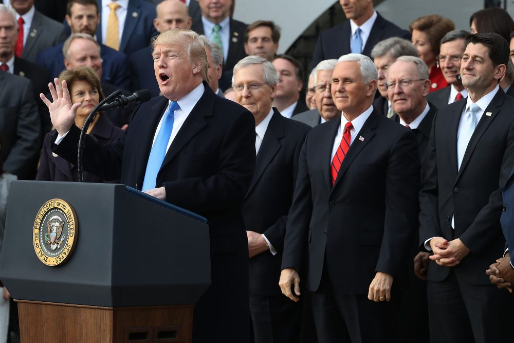 President Trump hosts an event to celebrate Congress passing the Tax Cuts and Jobs Act with Republican members of the House and Senate on the South Lawn of the White House on Dec. 20, 2017, in Washington, D.C. (Chip Somodevilla/Getty Images)