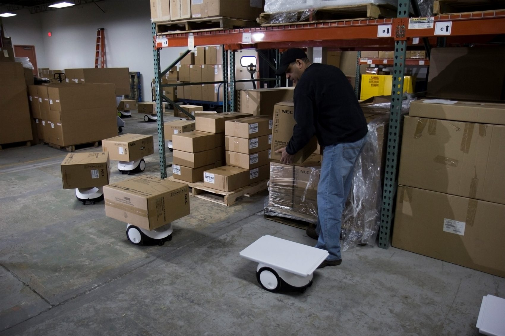 The founder of Vecna says robots are not about replacing people, it's about making warehouse workers as efficient as possible. (Courtesy of Vecna Robotics)