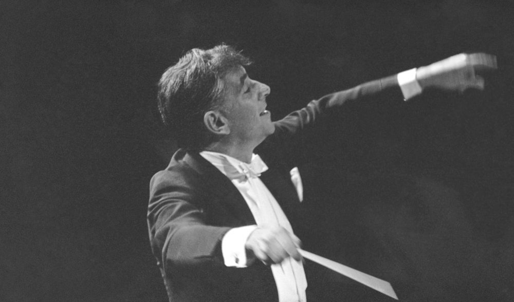 Leonard Bernstein leads the New York Philharmonic Orchestra on Sept. 24, 1962. (AP)