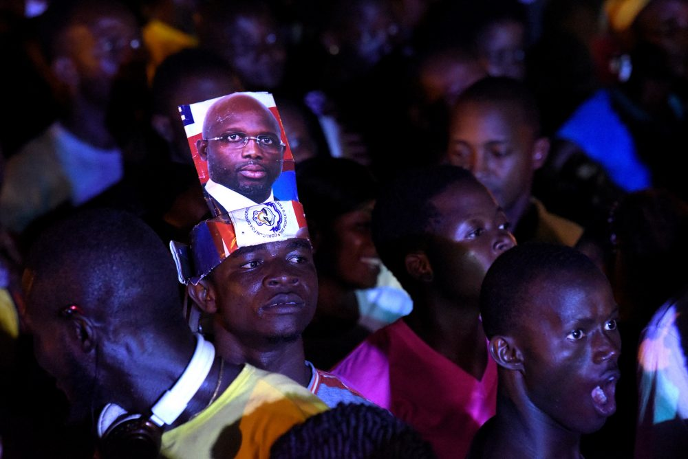 People gather to celebrate the victory of former soccer star George Weah in Liberia's presidential runoff, on Dec. 28, 2017 in Monrovia. (Seyllou/AFP/Getty Images)