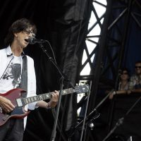 The Cars lead singer Ric Ocasek performs during the Lollapalooza music festival at Grant Park in Chicago, Sunday, Aug. 7, 2011. (AP Photo/Nam Y. Huh)