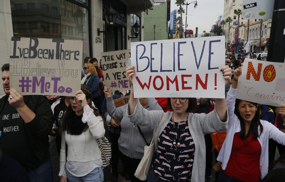 Participants march against sexual assault and harassment at the #MeToo March in the Hollywood section of Los Angeles on Sunday, Nov. 12, 2017. (Damian Dovarganes/AP)