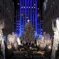 The Rockefeller Center Christmas Tree stands lit, Wednesday, Nov. 29, 2017, in New York. The 75-foot tall Norway spruce is covered with more than 50,000 multi-colored LED lights and will remain lit until Jan. 7, 2018. (Diane Bondareff/AP)