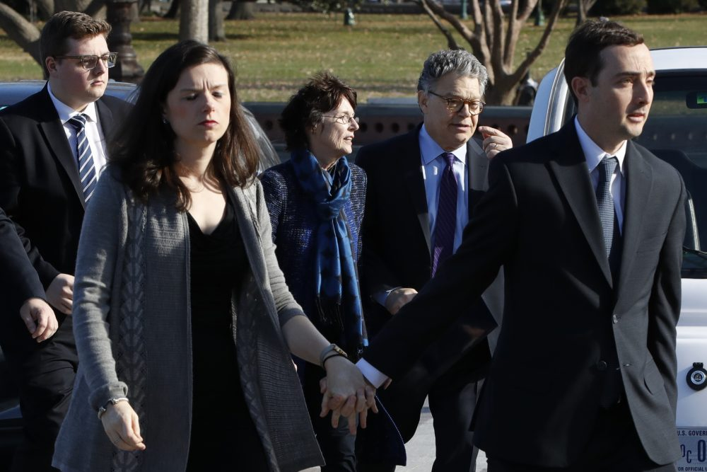 Sen. Al Franken, D-Minn., arrives with his wife Franni Bryson and family to the Capitol, Thursday, Dec. 7, 2017, on Capitol Hill in Washington. Franken said he will resign from the Senate in coming weeks following a wave of sexual misconduct allegations and a collapse of support from his Democratic colleagues, a swift political fall for a once-rising Democratic star.  (Jacquelyn Martin/AP)
