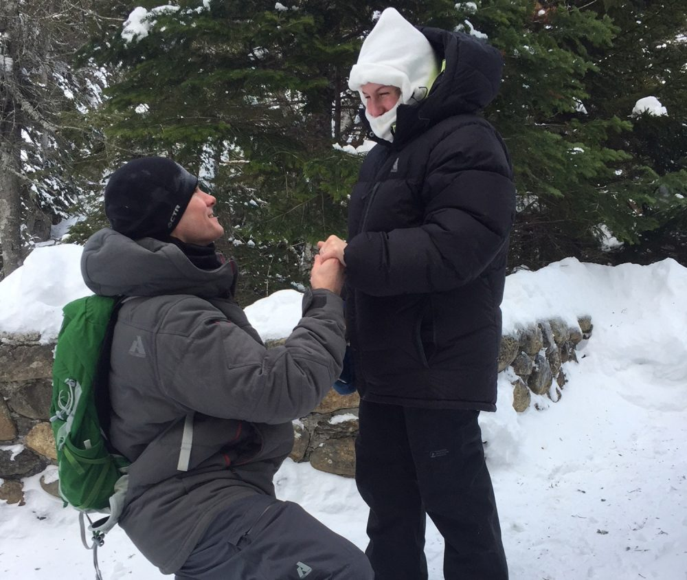 Josh Darnell, of Londonderry, New Hampshire, proposes to Rachel Raske, of Lowell, Massachusetts, on Dec. 28 in Tuckerman's Ravine, New Hampshire, on the same day the temperature dropped to minus-34 on nearby Mount Washington. Raske said yes. (Doug Darnell via AP)