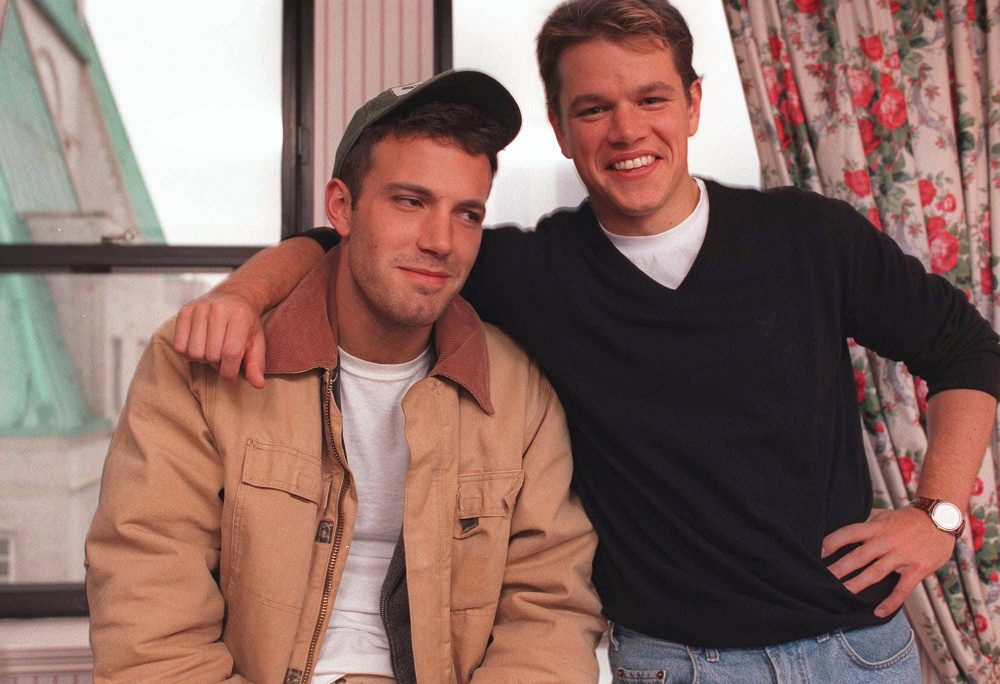 Actors Ben Affleck, 25, left, and Matt Damon, 27, pose during an interview in New York Nov. 22, 1997. (Yukio Gion/AP)