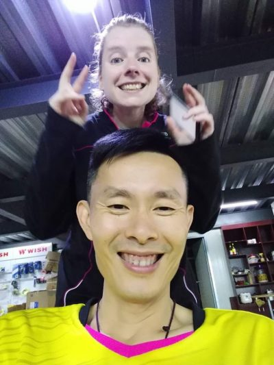 Becky and her coach, Lin Ze Xiong. (Courtesy Becky Ances)