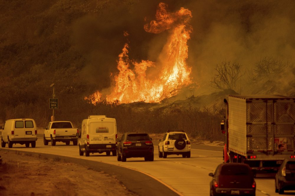 Flames from a wildfire leap above traffic on Highway 101 north of Ventura, Calif., on Wednesday, Dec. 6, 2017. (AP Photo/Noah Berger)