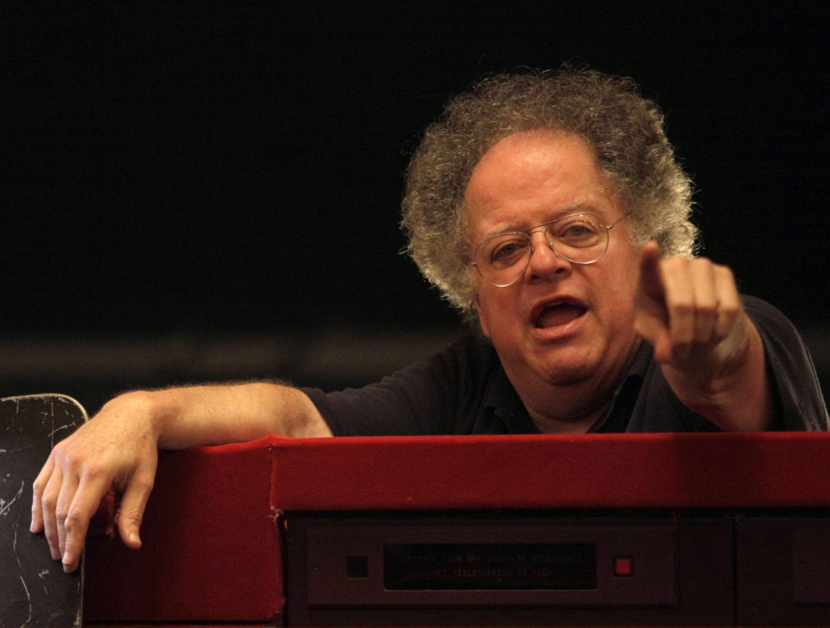 "Conductor James Levine at a dress rehearsal for ""Tosca "" at the Metropolitan Opera in 2009.  (Mary Altaffer / AP)"