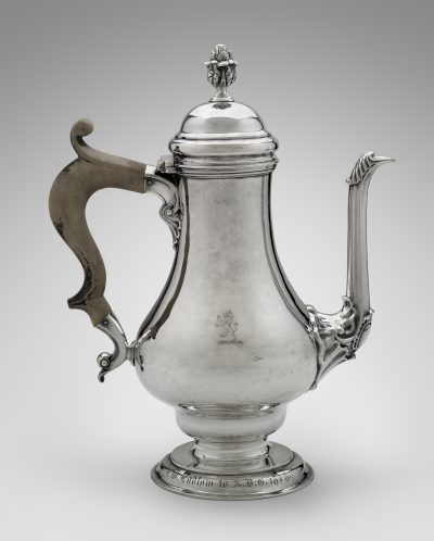 Myer Myers' coffeepot created between 1750 and 1765. (Courtesy Museum of Fine Arts, Boston)