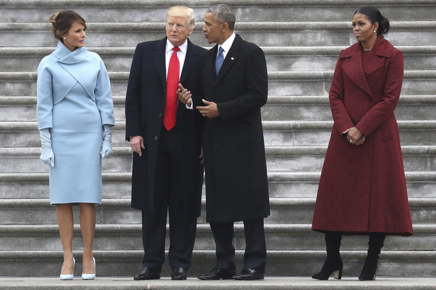 WASHINGTON, DC - JANUARY 20: President Donald Trump and former president Barack Obama stand on the steps of the U.S. Capitol with First Lady Melania Trump and Michelle Obamal on January 20, 2017 in Washington, DC. In today's inauguration ceremony Donald J. Trump becomes the 45th president of the United States. (Photo by Rob Carr/Getty Images)