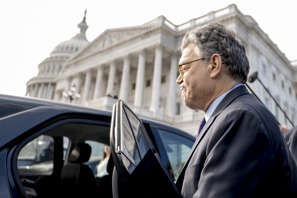 Sen. Al Franken, D-Minn., leaves the Capitol after speaking on the Senate floor, Thursday. Franken said he will resign from the Senate in coming weeks following a wave of sexual misconduct allegations. (Andrew Harnik/AP)