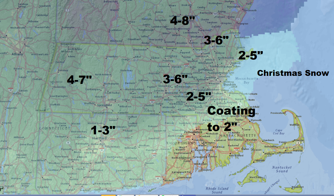 Christmas snow will fall this year in much of Southern New England. (Dave Epstein/WBUR)
