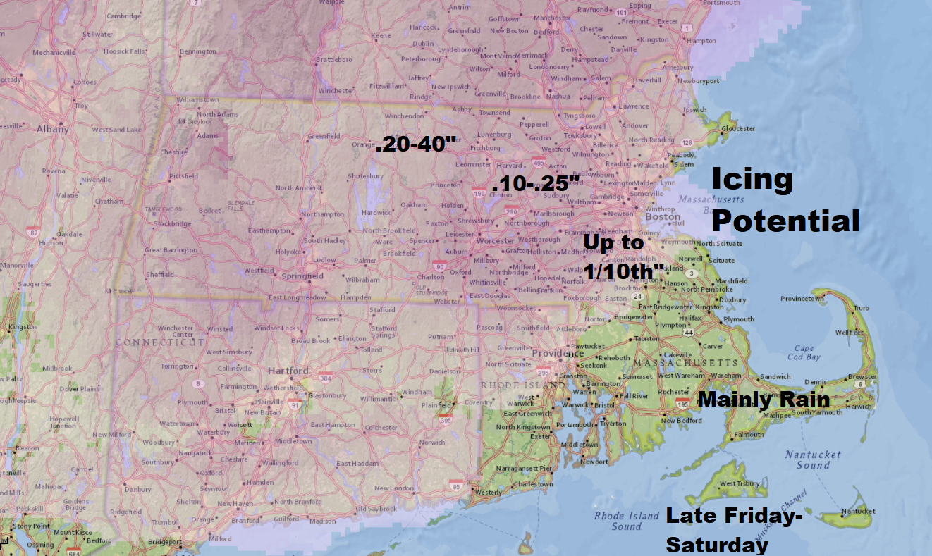 Areas north and west of Boston have the greatest risk of icing Friday night and early Saturday. (Dave Epstein/WBUR)