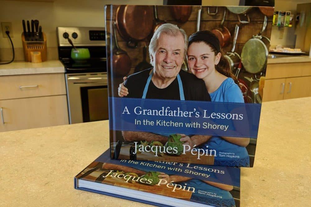 Jacques Pepin's cookbook. (Sarah Platt/WBUR)