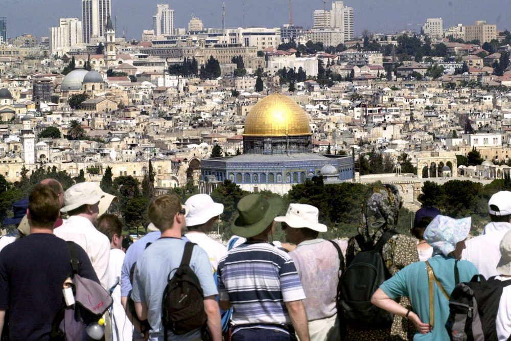 Tourists view the skyline of Jerusalem in this 2000 file photo. (AP)