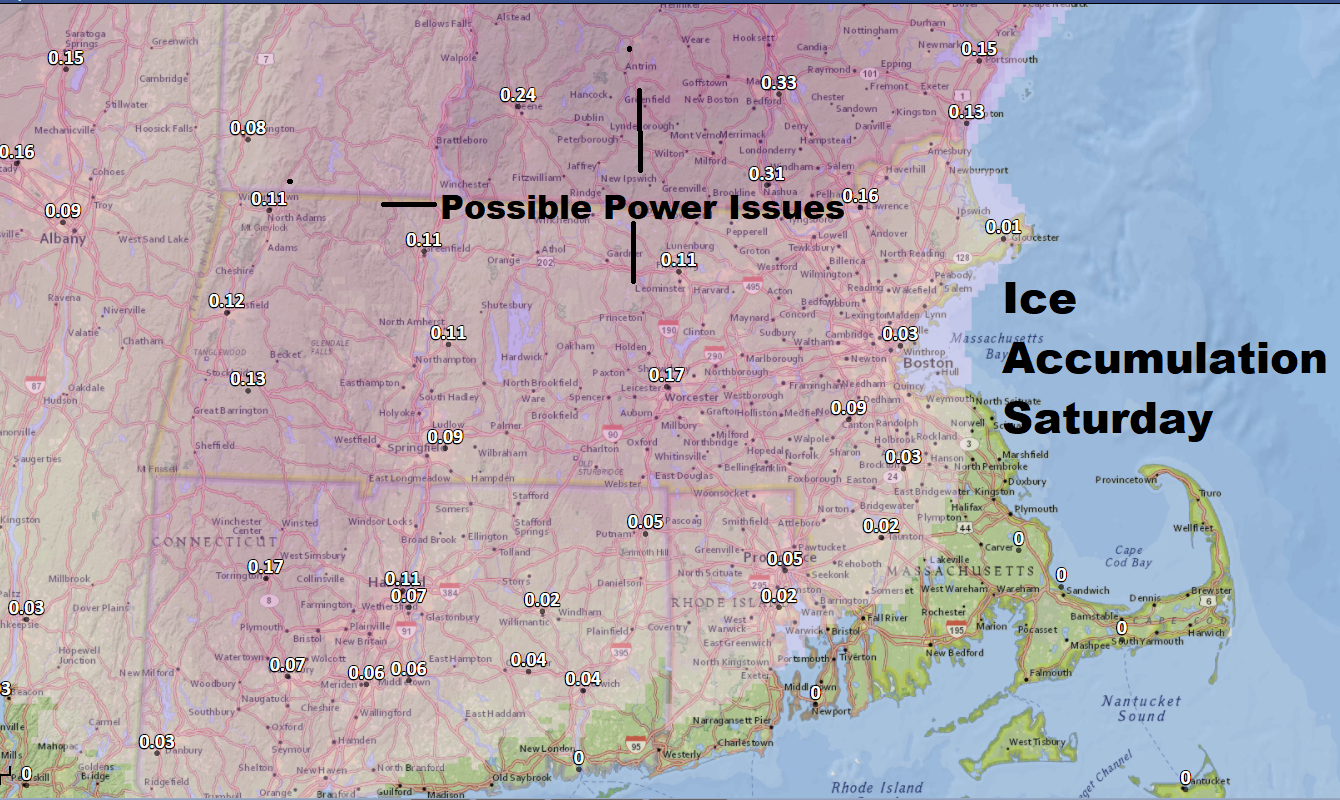 Ice will accumulate through the afternoon over inland areas. (Dave Epstein/WBUR)