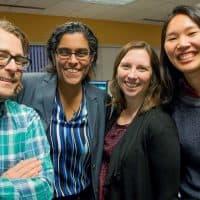 The producers and host of Radio Boston: Jamie Bologna, Meghna Chakrabarti, Kathleen McNerney and Alison Bruzek in December 2017 (Robin Lubbock/WBUR)