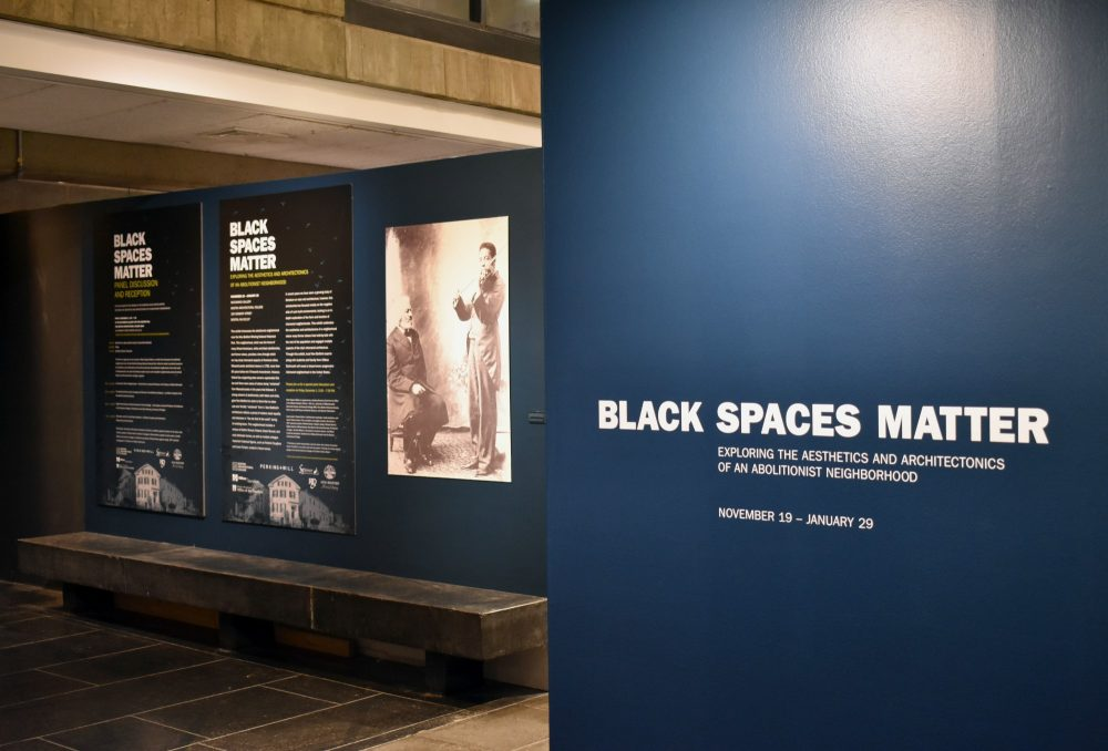 "The ""Black Spaces Matter"" exhibit at the Boston Architectural College. (Courtesy BAC)"