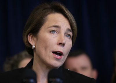 Massachusetts Attorney General Maura Healey takes questions from reporters during a news conference on Jan. 31, 2017, in Boston. (Steven Senne/AP)