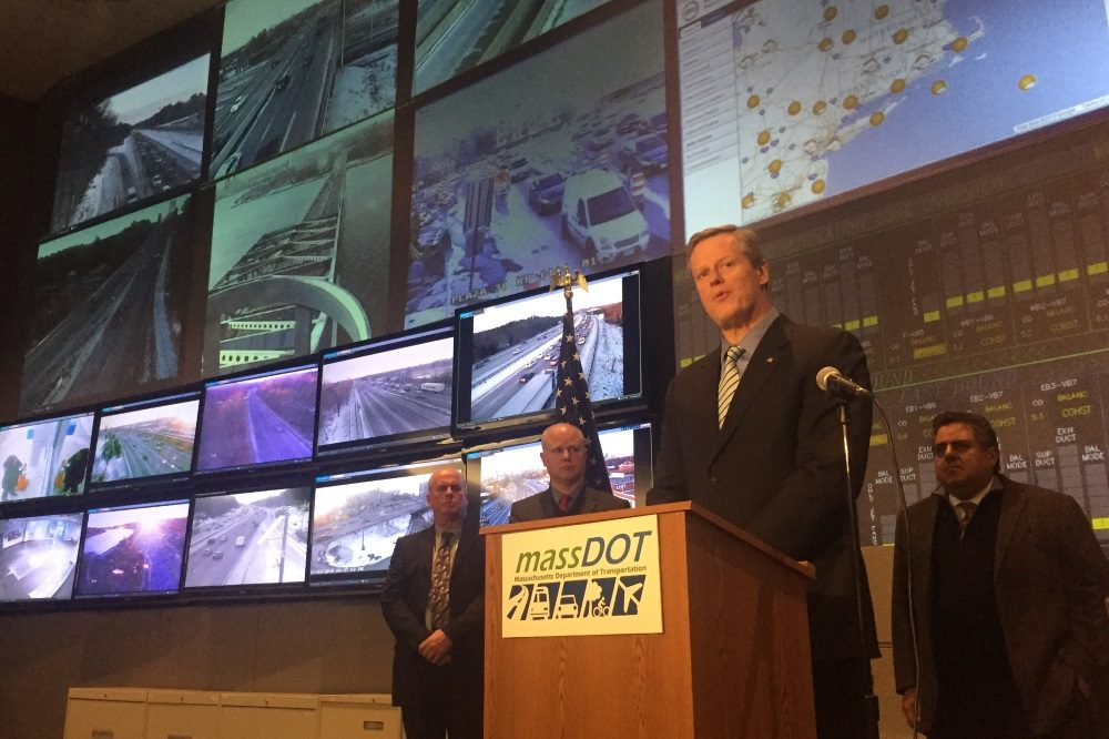 """Gov. Charlie Baker said the biggest challenge on roadways will be keeping up with snowfall """"when it's coming down at three inches an hour...even if the DOT has fully deployed all of its road crews."""" (Andy Metzger/SHNS)"""