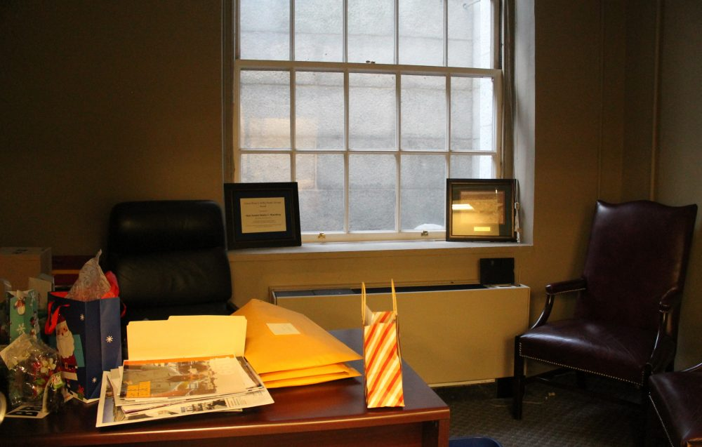 Former Senate President Stanley Rosenberg's temporary basement office gets some sunlight from a window-well near the Hooker Entrance. (Sam Doran/SHNS)