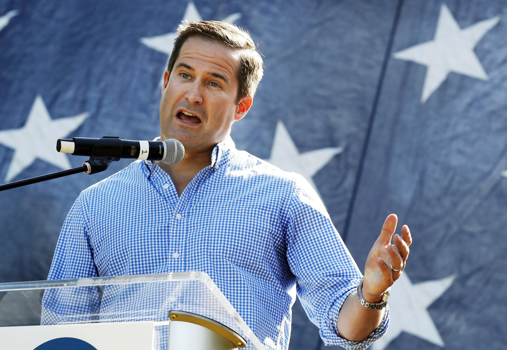 In this Sept. 30, 2017 file photo, U.S. Rep. Seth Moulton, D-Mass., speaks during the Polk County Democrats Steak Fry in Des Moines, Iowa. (Charlie Neibergall/AP)