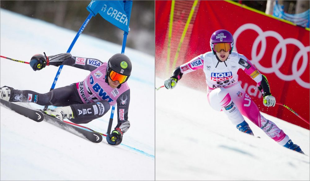 Tommy Ford of Bend, Ore., left, placed 10th in the World Cup giant slalom at Beaver Creek, Colo., in December. PyeongChang 2018 hopeful Laurenne Ross, right, also from Bend, is staging a comeback from a serious knee injury suffered last March. (Courtesy Cody Downard Photography/USSA)