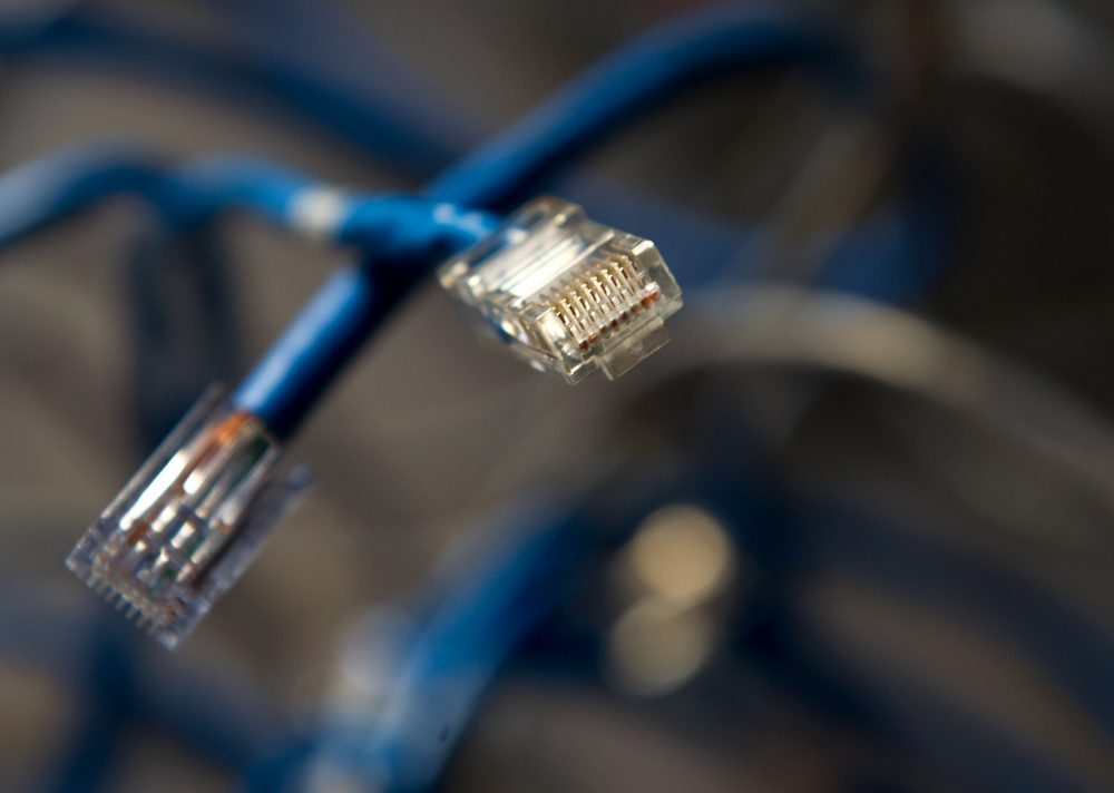 This May 26, 2014 photo shows ethernet connectors. (Karen Bleier/AFP/Getty Images)