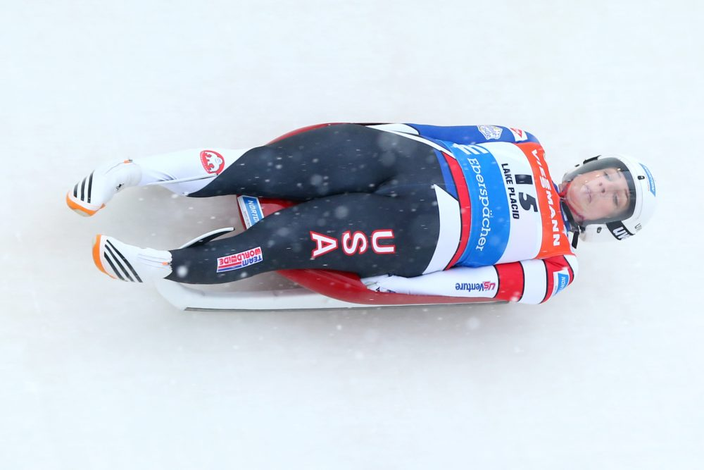 Erin Hamlin of the United States completes her first run in the women's competition of the Viessmann FIL Luge World Cup at Lake Placid Olympic Center on Dec. 16, 2017 in Lake Placid, N.Y. (Maddie Meyer/Getty Images)