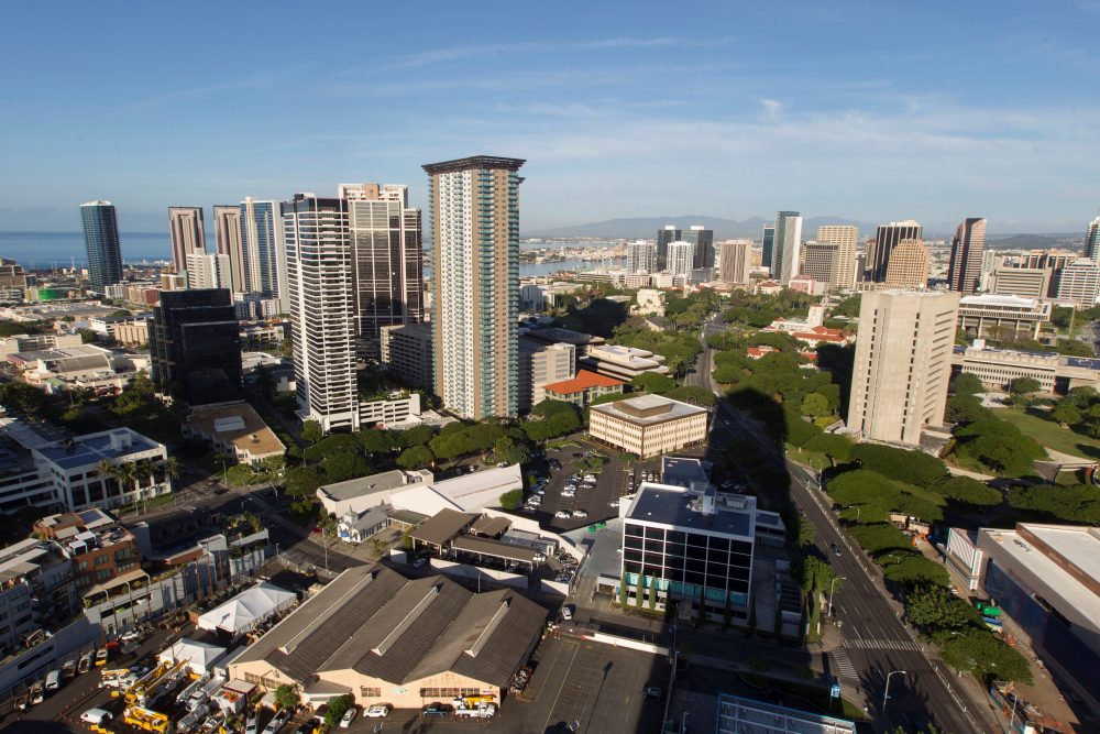 "A morning view of the city of Honolulu, Hawaii is seen on Jan. 13, 2018. Social media ignited on Saturday after apparent screenshots of cellphone emergency alerts warning of a ""ballistic missile threat inbound to Hawaii"" began circulating, which U.S. officials quickly dismissed as ""false."" (Eugene Tanner/AFP/Getty Images)"