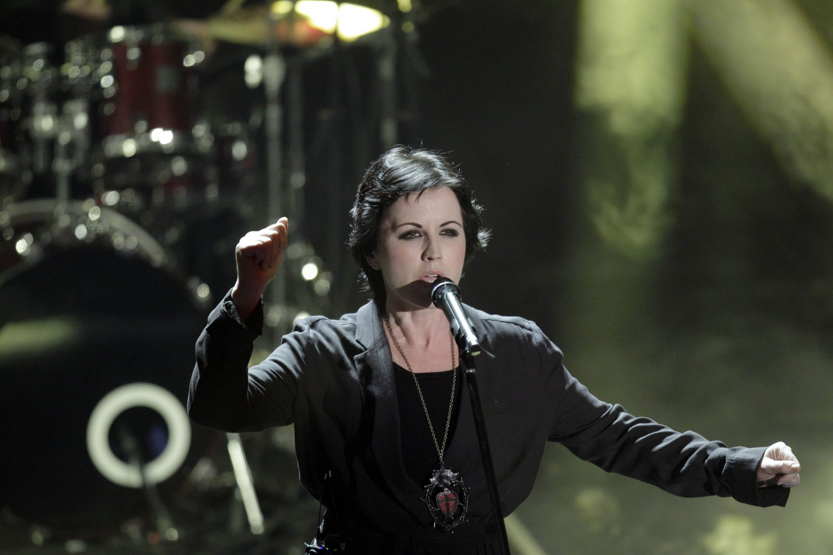 Dolores O'Riordan, former frontwoman of Irish band The Cranberries, performs in Italy on Saturday, Feb. 18, 2012. (Luca Bruno/AP)