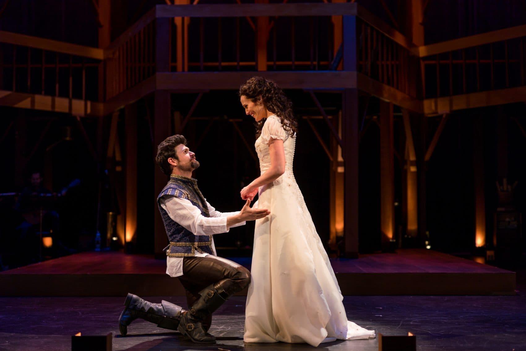"George Olesky as Shakespeare and Jennifer Ellis as Viola de Lesseps in ""Shakespeare in Love."" (Courtesy Nile Hawver/Nile Scott Shots)"
