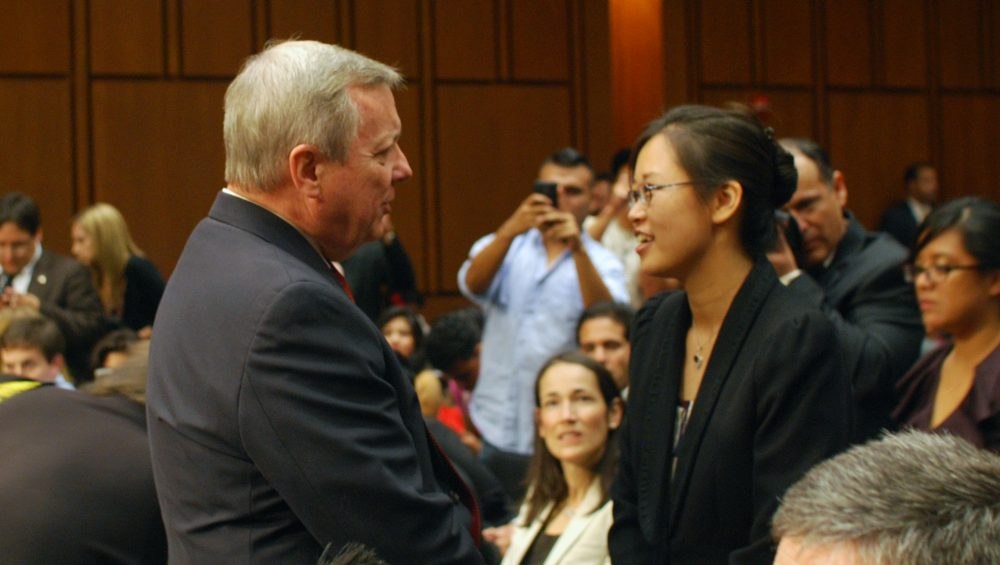 Sen. Richard Durbin speaks with Tereza Lee several years ago. (Courtesy Tereza Lee)