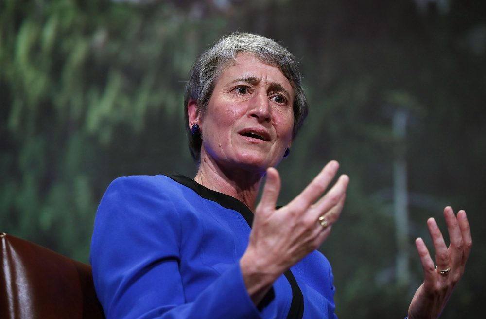 Interior Secretary Sally Jewell speaks April 19, 2016, at the National Geographic Society in Washington, D.C. (Alex Wong/Getty Images)