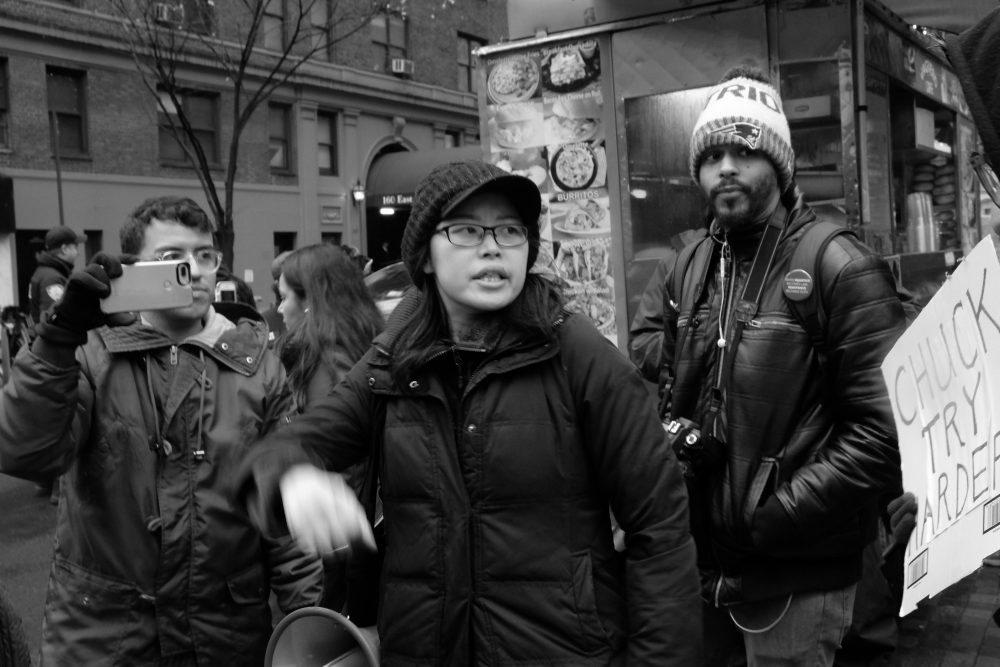 Tereza Lee, center, protests in New York City on Wednesday. (Courtesy Tereza Lee)