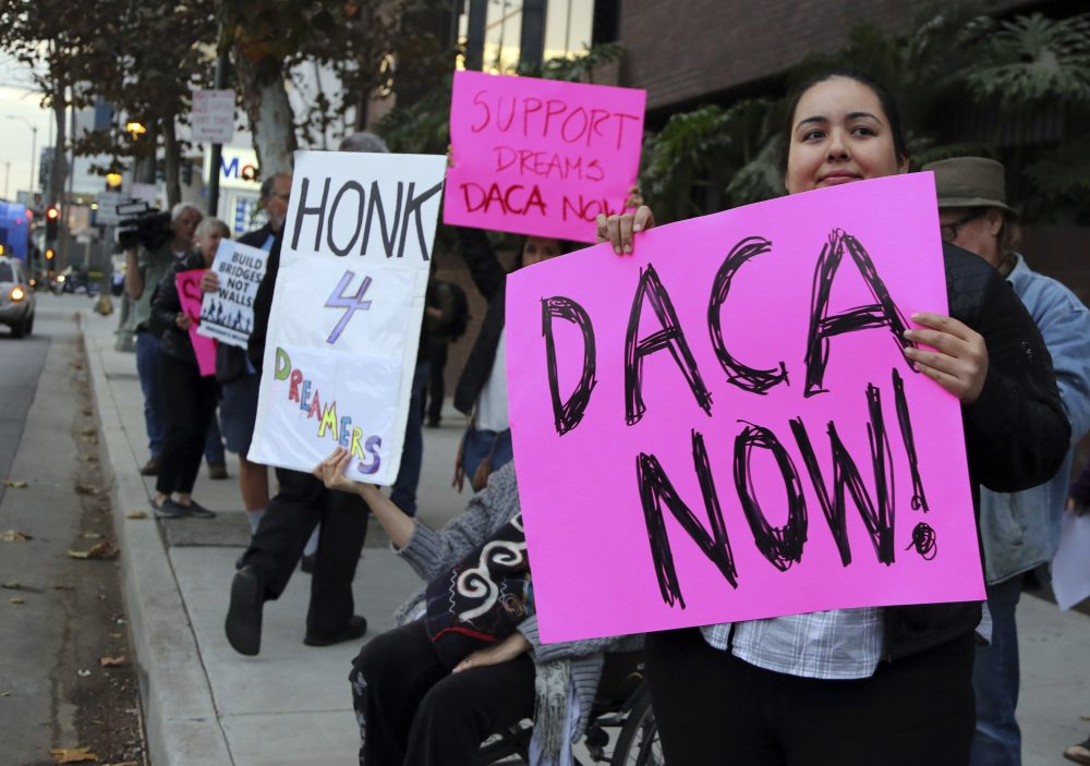 Demonstrators urging the Democratic Party to protect the Deferred Action for Childhood Arrivals Act (DACA) rally outside the office of California Democratic Sen. Dianne Feinstein in Los Angeles Wednesday, Jan. 3, 2018. (Reed Saxon/AP)