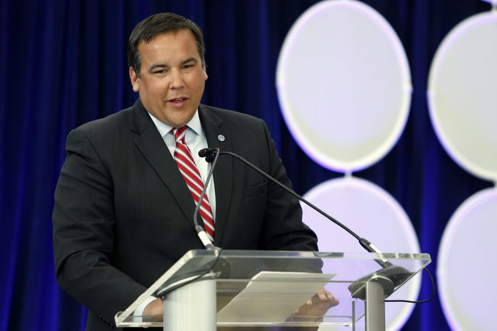 In this June 28, 2016, file photo, Columbus, Ohio, Mayor Andrew Ginther speaks during a celebration for the renaming of Port Columbus International Airport as John Glenn Columbus International Airport in Columbus, Ohio. (Jay LaPrete, File/AP)