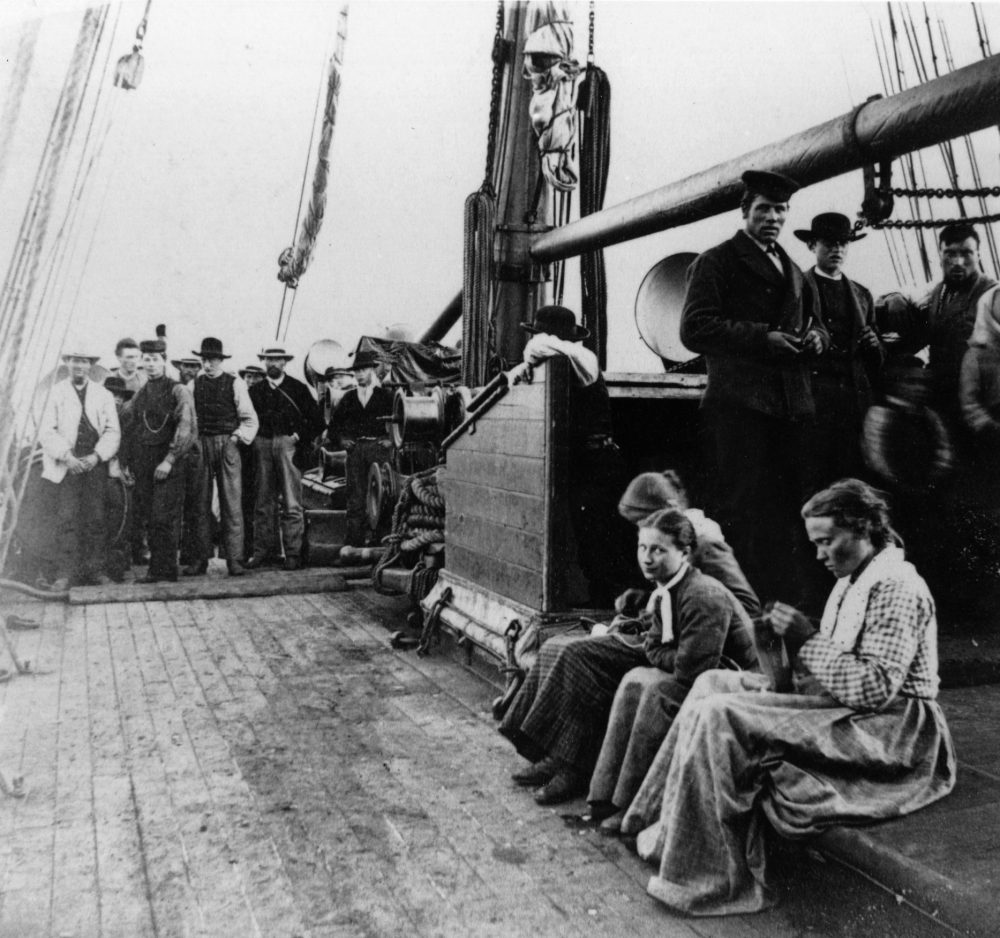 "Norwegian emigrants en route to America on board the ""SS Hero."" (Hulton Archive/Getty Images)"
