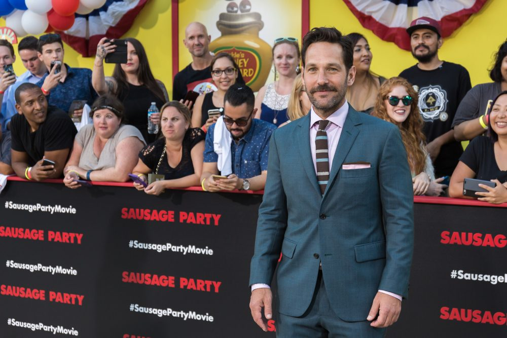 "Paul Rudd arrives at the world premiere of ""Sausage Party"" at the Regency Village Theatre on Tuesday, August 9, 2016, in Los Angeles. (Willy Sanjuan/Invision/AP)"