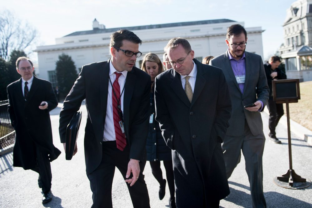 Mick Mulvaney, director of the Office of Management and Budget, speaks about a possible government shutdown outside the White House on Jan. 19, 2018. (Brendan Smialowski/AFP/Getty Images)