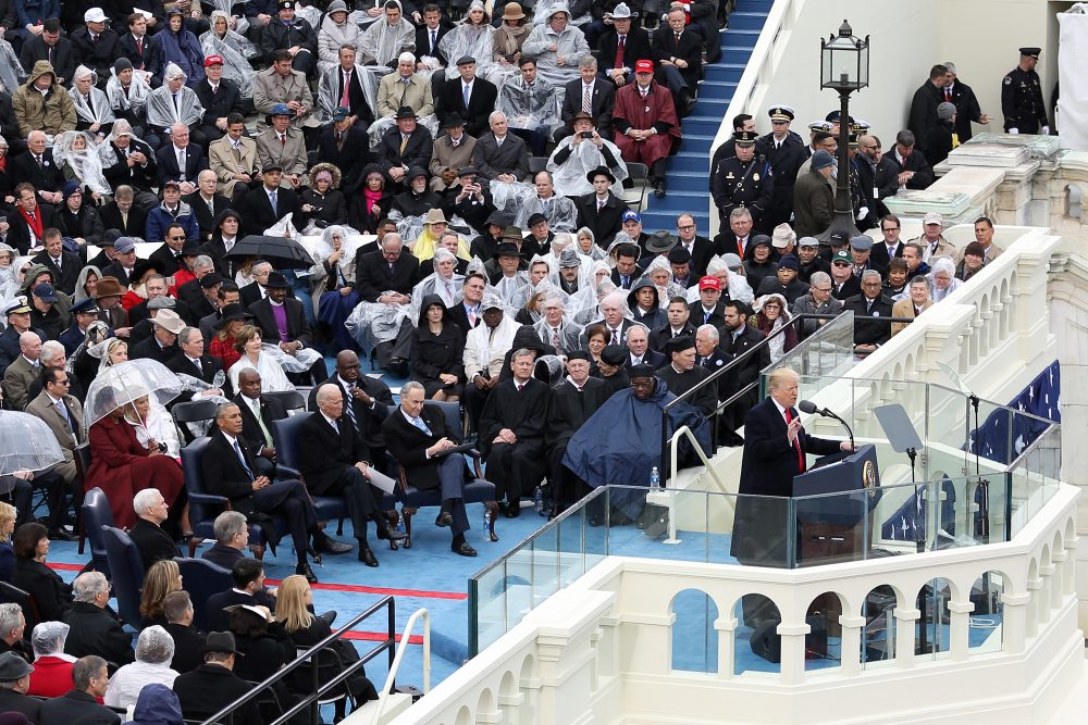 President Trump delivers his inaugural address on the West Front of the U.S. Capitol on Jan. 20, 2017. (Joe Raedle/Getty Images)