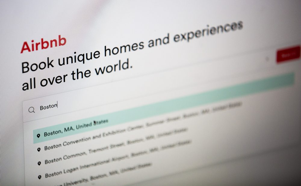 The Airbnb website. (Jesse Costa/WBUR)