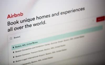 The Airbnb website. (Jesse Costa/WBUR)