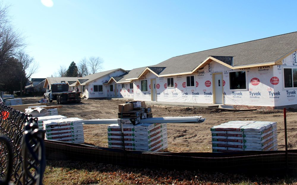 New apartments are being built in Holdrege, Nebraska, where an elementary school used to be. (Grant Gerlock/Harvest Public Media)